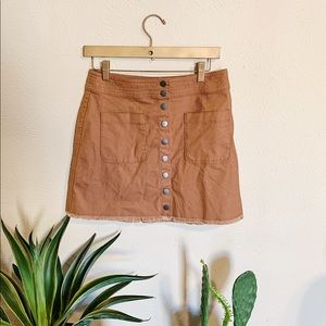 Madewell Burnt Orange Frayed Skirt